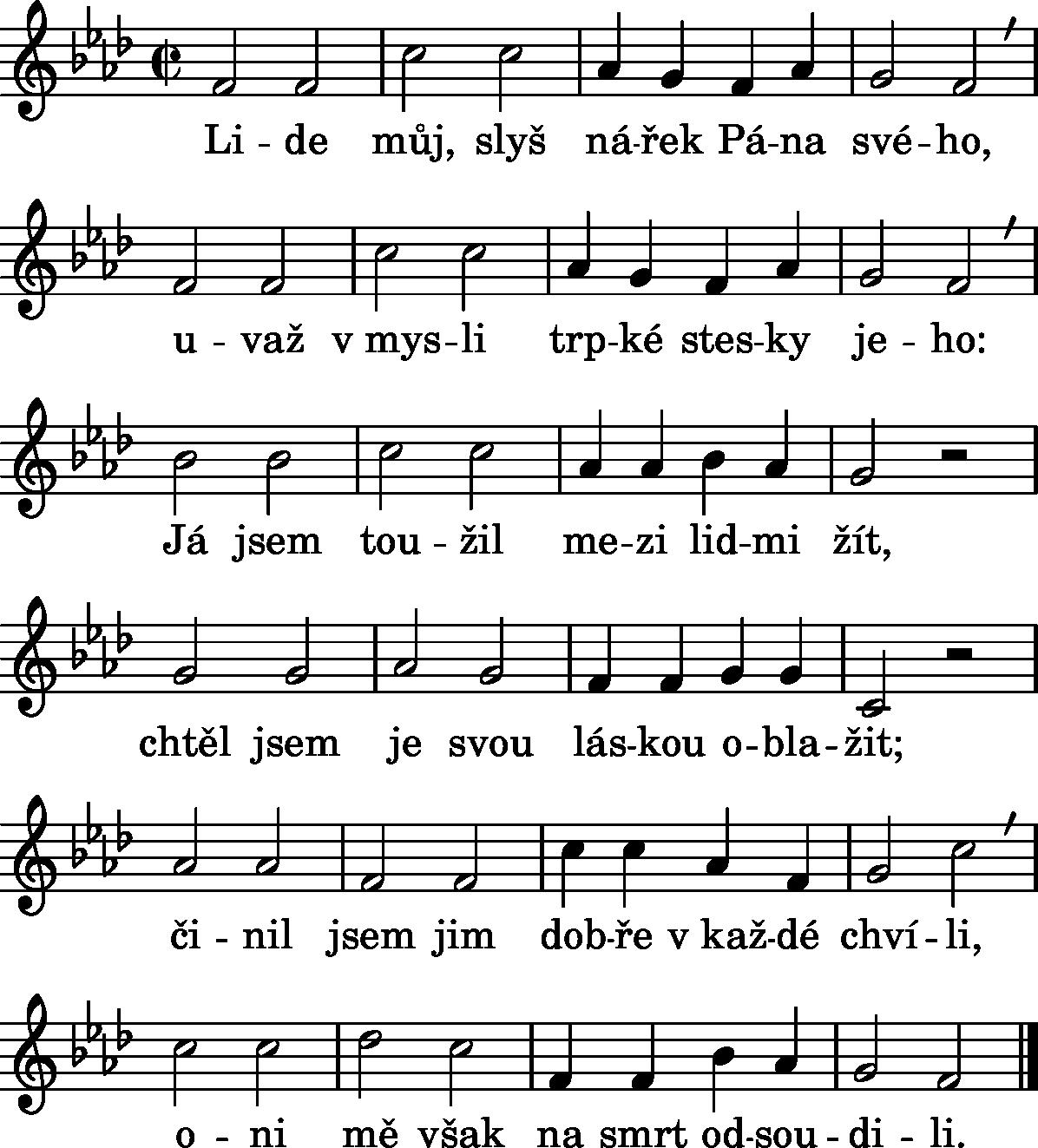 Noty k písni číslo 72– Křížová cesta II.