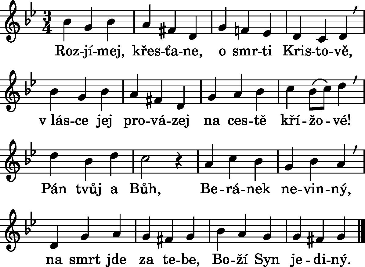 Noty k písni číslo 73– Křížová cesta III.